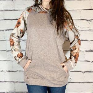 Floral rose print sleeve hoodie